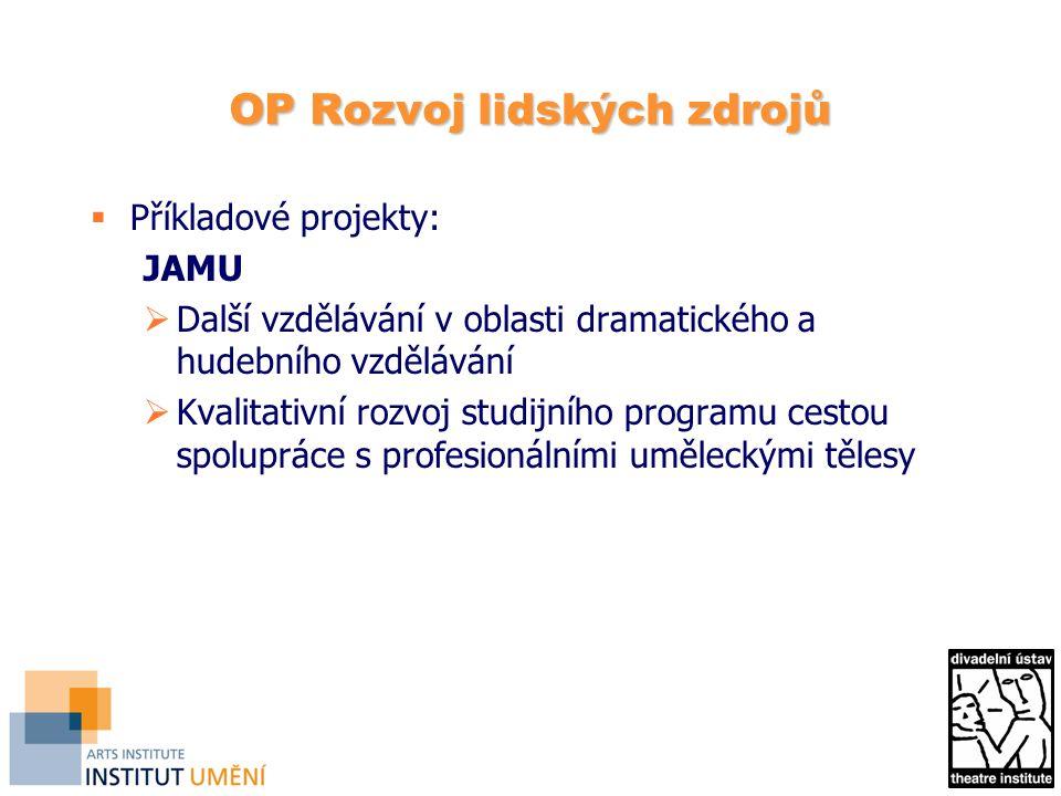 OP Rozvoj lidských zdrojů  Příkladové projekty: JAMU  Další vzdělávání v oblasti dramatického a hudebního vzdělávání  Kvalitativní rozvoj studijního programu cestou spolupráce s profesionálními uměleckými tělesy