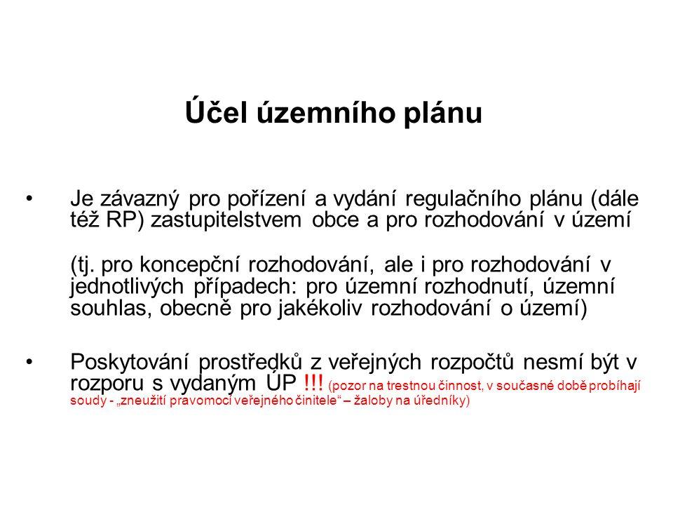 Účel územního plánu Je závazný pro pořízení a vydání regulačního plánu (dále též RP) zastupitelstvem obce a pro rozhodování v území (tj. pro koncepční