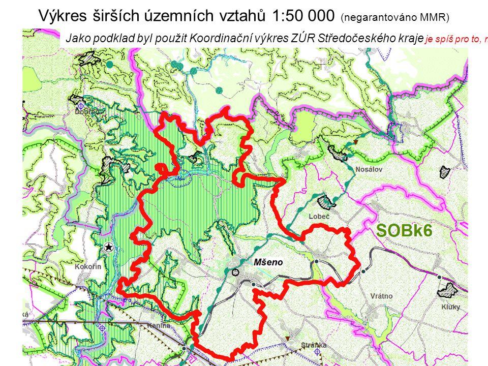 Výkres širších územních vztahů 1:50 000 (negarantováno MMR) Jako podklad byl použit Koordinační výkres ZÚR Středočeského kraje je spíš pro to, mít čis