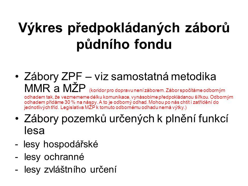 Výkres předpokládaných záborů půdního fondu Zábory ZPF – viz samostatná metodika MMR a MŽP (koridor pro dopravu není záborem. Zábor spočítáme odborným