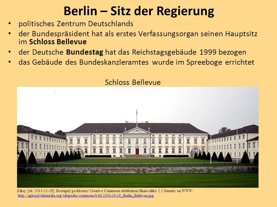 politisches Zentrum Deutschlands der Bundespräsident hat als erstes Verfassungsorgan seinen Hauptsitz im Schloss Bellevue der Deutsche Bundestag hat d