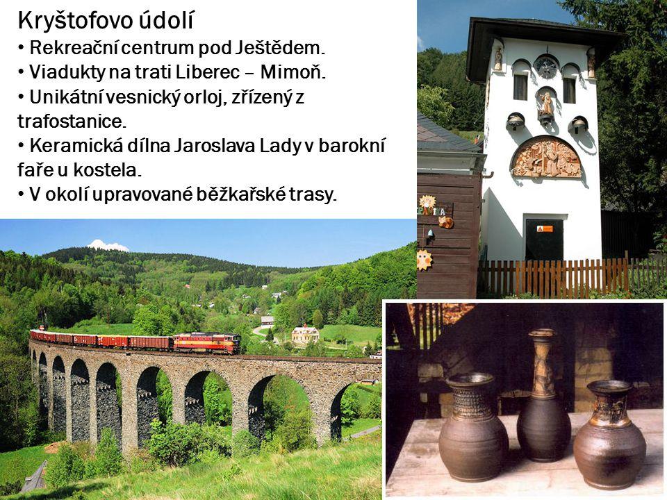 Kryštofovo údolí Rekreační centrum pod Ještědem. Viadukty na trati Liberec – Mimoň.