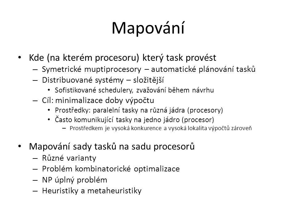 Mapování Kde (na kterém procesoru) který task provést – Symetrické muptiprocesory – automatické plánování tasků – Distribuované systémy – složitější Sofistikované schedulery, zvažování během návrhu – Cíl: minimalizace doby výpočtu Prostředky: paralelní tasky na různá jádra (procesory) Často komunikující tasky na jedno jádro (procesor) – Prostředkem je vysoká konkurence a vysoká lokalita výpočtů zároveň Mapování sady tasků na sadu procesorů – Různé varianty – Problém kombinatorické optimalizace – NP úplný problém – Heuristiky a metaheuristiky