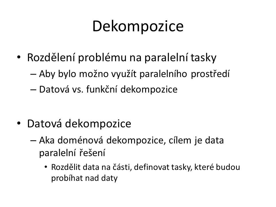 Dekompozice Rozdělení problému na paralelní tasky – Aby bylo možno využít paralelního prostředí – Datová vs.