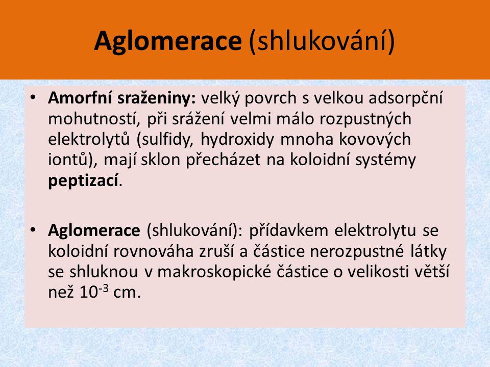 Aglomerace (shlukování) Amorfní sraženiny: velký povrch s velkou adsorpční mohutností, při srážení velmi málo rozpustných elektrolytů (sulfidy, hydrox