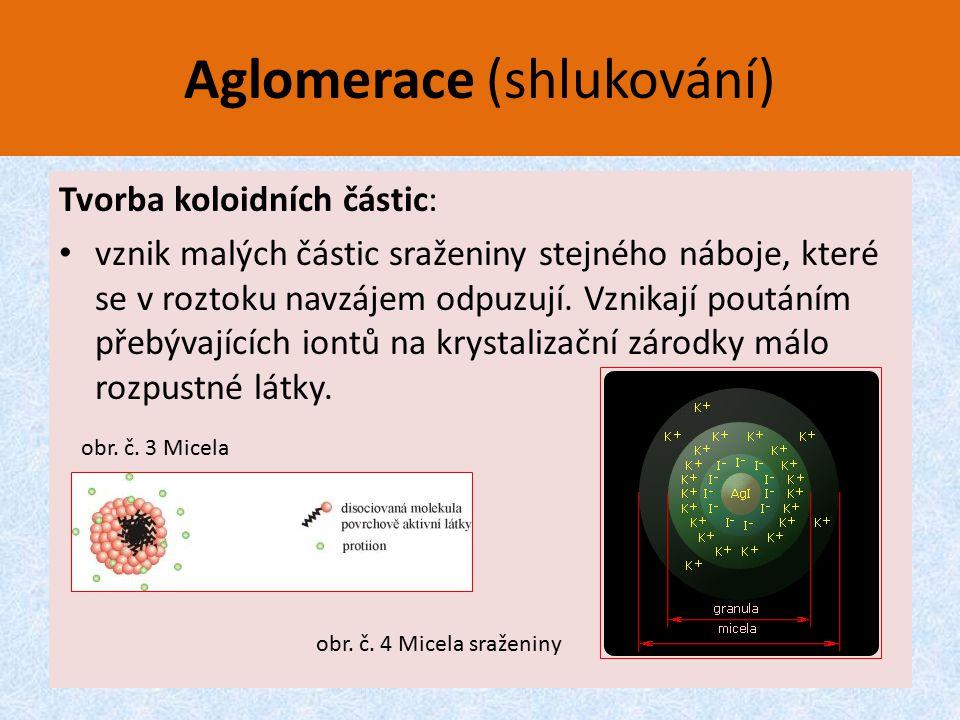 Aglomerace (shlukování) Tvorba koloidních částic: vznik malých částic sraženiny stejného náboje, které se v roztoku navzájem odpuzují. Vznikají poután
