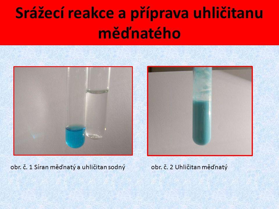 Srážecí reakce a příprava uhličitanu měďnatého obr. č. 1 Síran měďnatý a uhličitan sodnýobr. č. 2 Uhličitan měďnatý