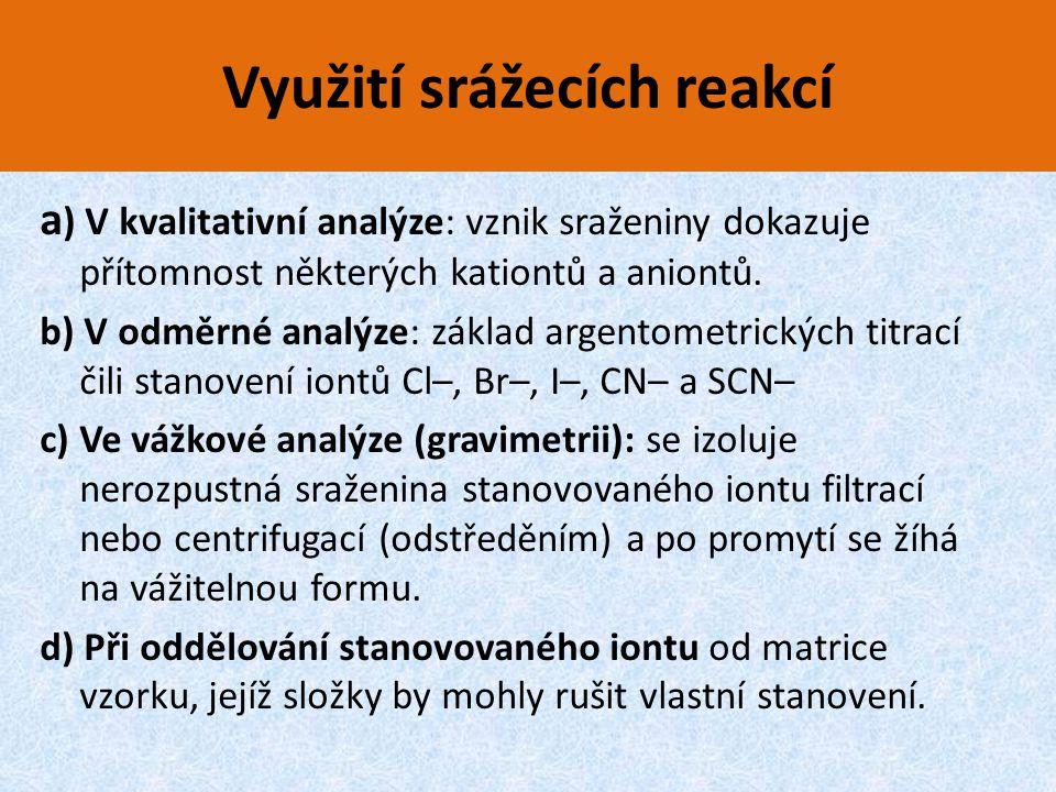 Využití srážecích reakcí a ) V kvalitativní analýze: vznik sraženiny dokazuje přítomnost některých kationtů a aniontů. b) V odměrné analýze: základ ar