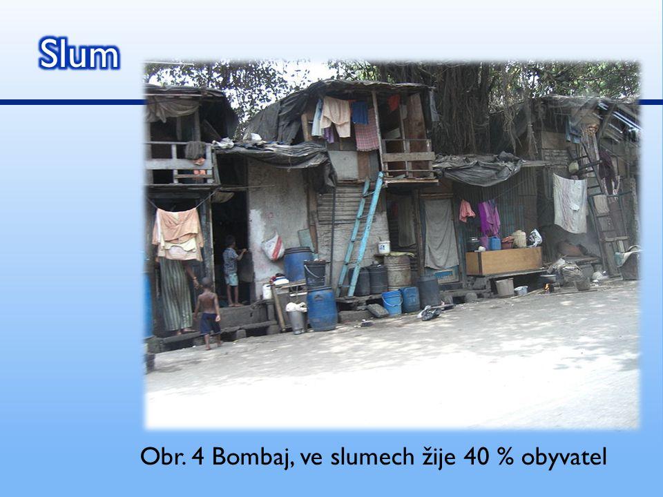 Obr. 4 Bombaj, ve slumech žije 40 % obyvatel
