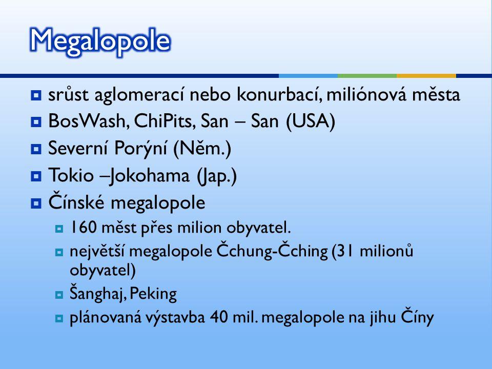  srůst aglomerací nebo konurbací, miliónová města  BosWash, ChiPits, San – San (USA)  Severní Porýní (Něm.)  Tokio –Jokohama (Jap.)  Čínské megal