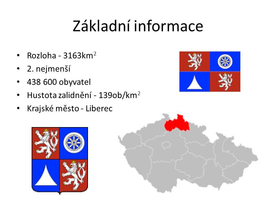 Základní informace Rozloha - 3163km 2 2. nejmenší 438 600 obyvatel Hustota zalidnění - 139ob/km 2 Krajské město - Liberec