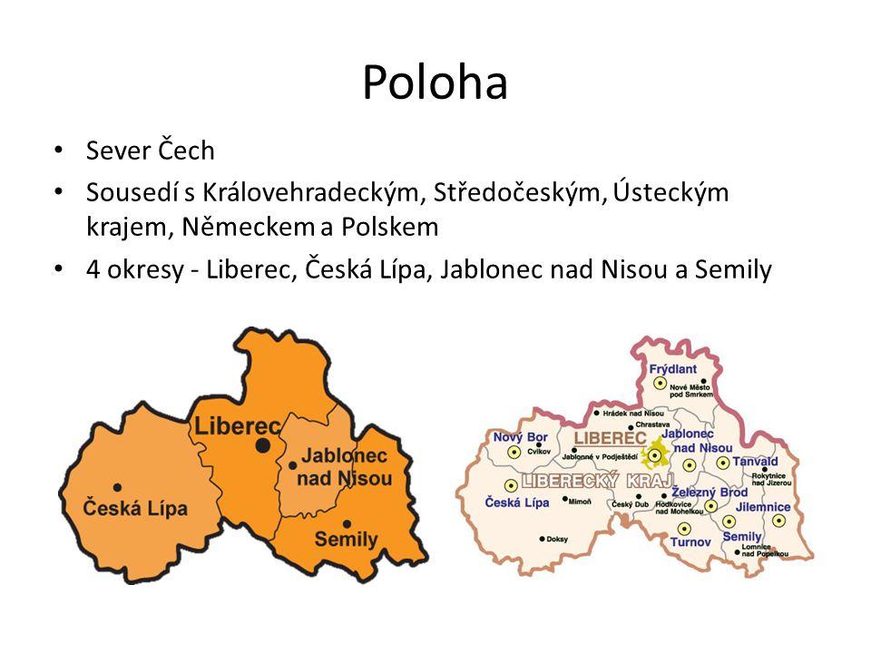Poloha Sever Čech Sousedí s Královehradeckým, Středočeským, Ústeckým krajem, Německem a Polskem 4 okresy - Liberec, Česká Lípa, Jablonec nad Nisou a S