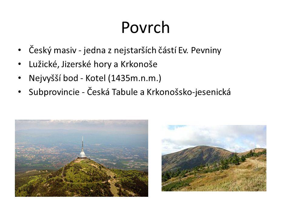 Povrch Český masiv - jedna z nejstarších částí Ev. Pevniny Lužické, Jizerské hory a Krkonoše Nejvyšší bod - Kotel (1435m.n.m.) Subprovincie - Česká Ta
