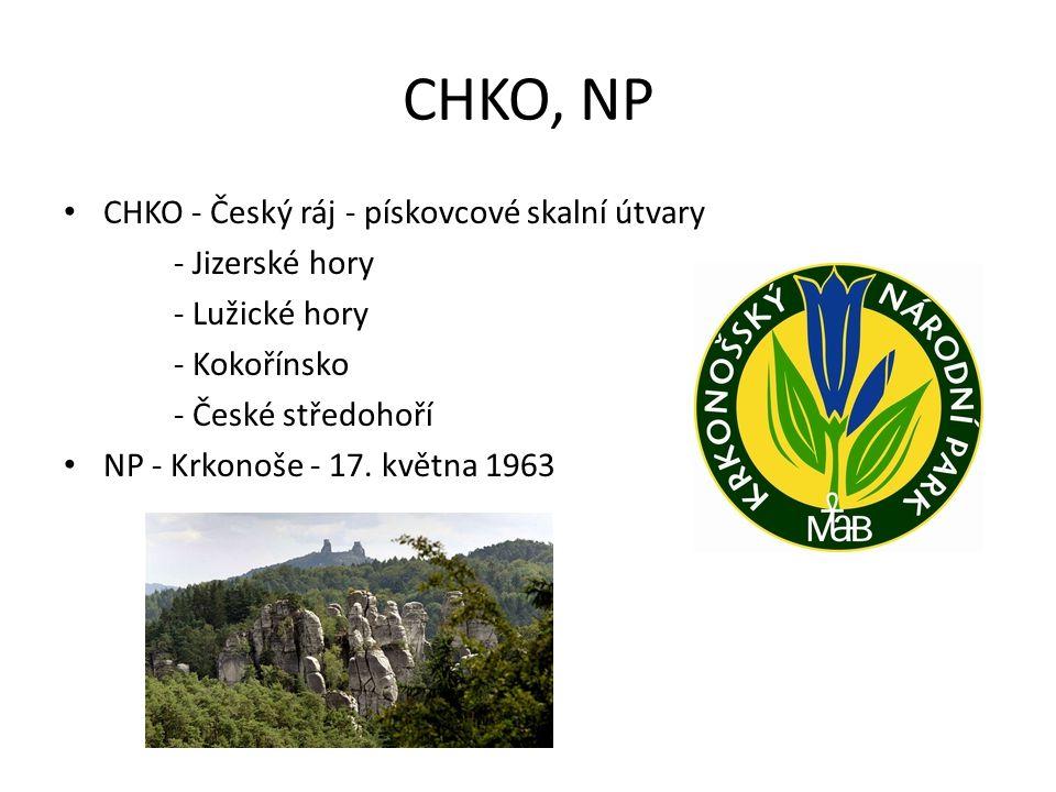 CHKO, NP CHKO - Český ráj - pískovcové skalní útvary - Jizerské hory - Lužické hory - Kokořínsko - České středohoří NP - Krkonoše - 17. května 1963