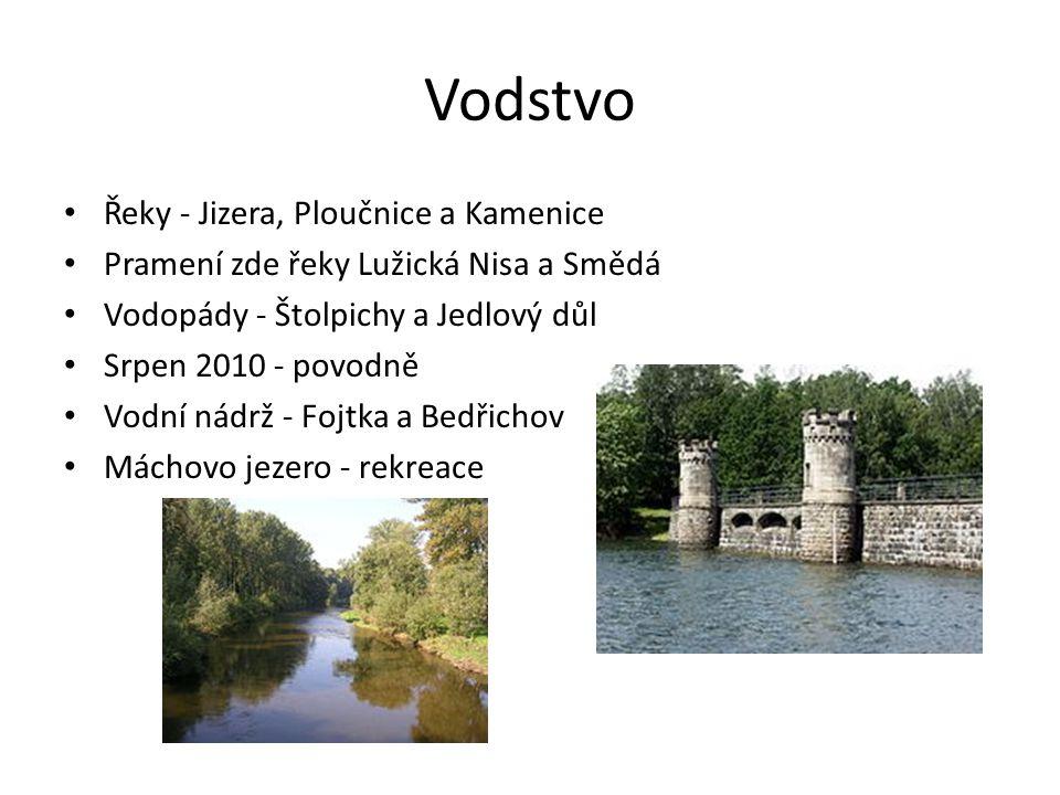 Vodstvo Řeky - Jizera, Ploučnice a Kamenice Pramení zde řeky Lužická Nisa a Smědá Vodopády - Štolpichy a Jedlový důl Srpen 2010 - povodně Vodní nádrž