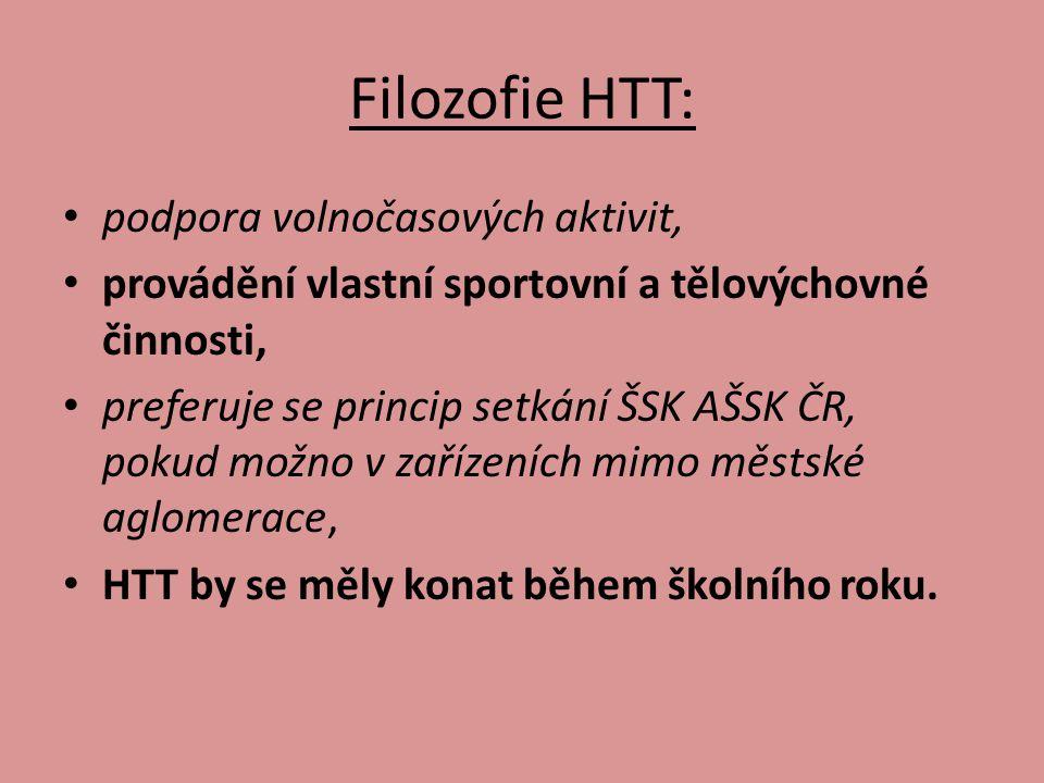 Filozofie HTT: podpora volnočasových aktivit, provádění vlastní sportovní a tělovýchovné činnosti, preferuje se princip setkání ŠSK AŠSK ČR, pokud možno v zařízeních mimo městské aglomerace, HTT by se měly konat během školního roku.