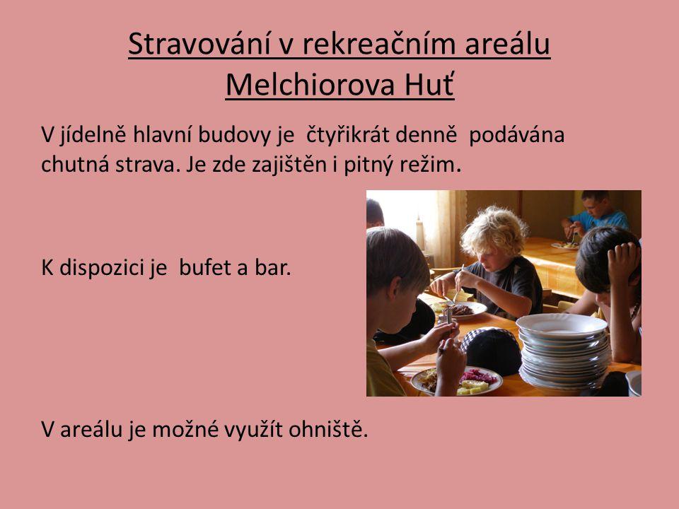 Stravování v rekreačním areálu Melchiorova Huť V jídelně hlavní budovy je čtyřikrát denně podávána chutná strava. Je zde zajištěn i pitný režim. K dis