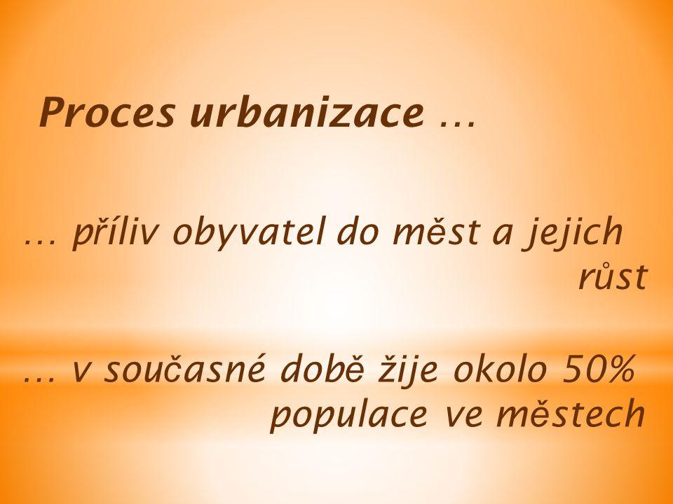 Proces urbanizace … … p ř íliv obyvatel do m ě st a jejich r ů st … v sou č asné dob ě ž ije okolo 50% populace ve m ě stech