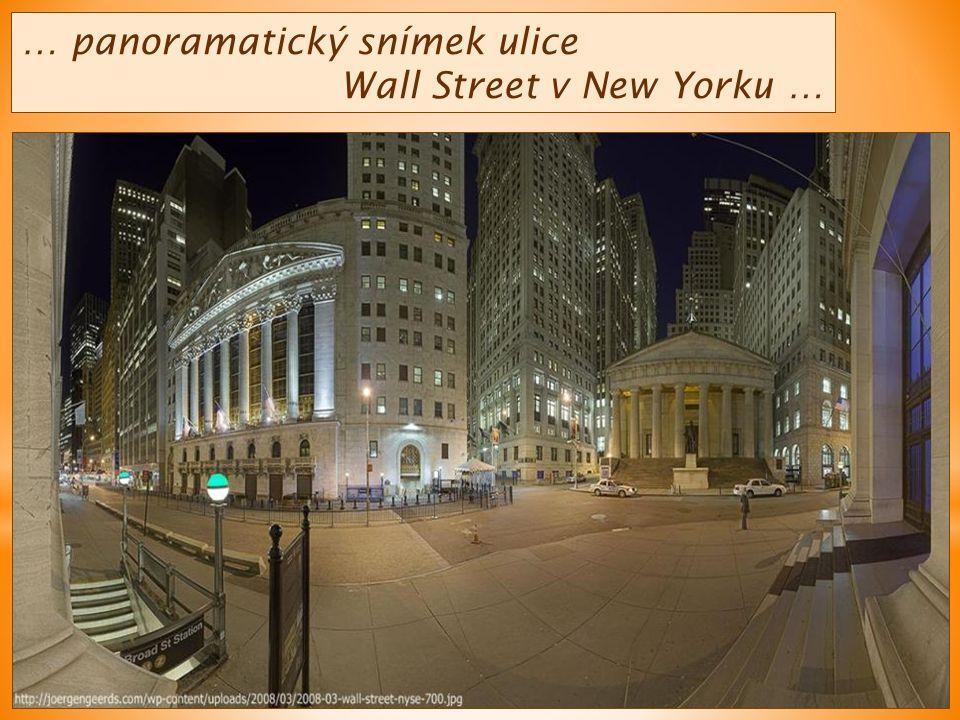 … panoramatický snímek ulice Wall Street v New Yorku …