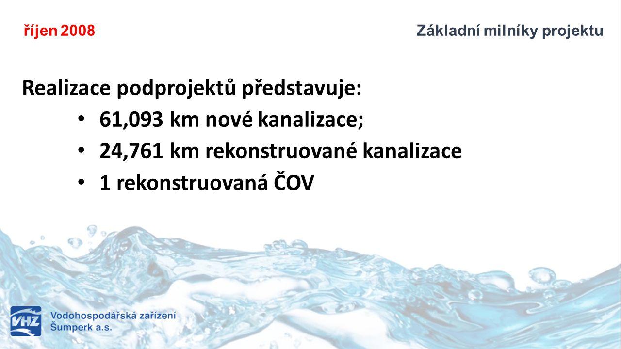 říjen 2008 Základní milníky projektu Realizace podprojektů představuje: 61,093 km nové kanalizace; 24,761 km rekonstruované kanalizace 1 rekonstruovaná ČOV