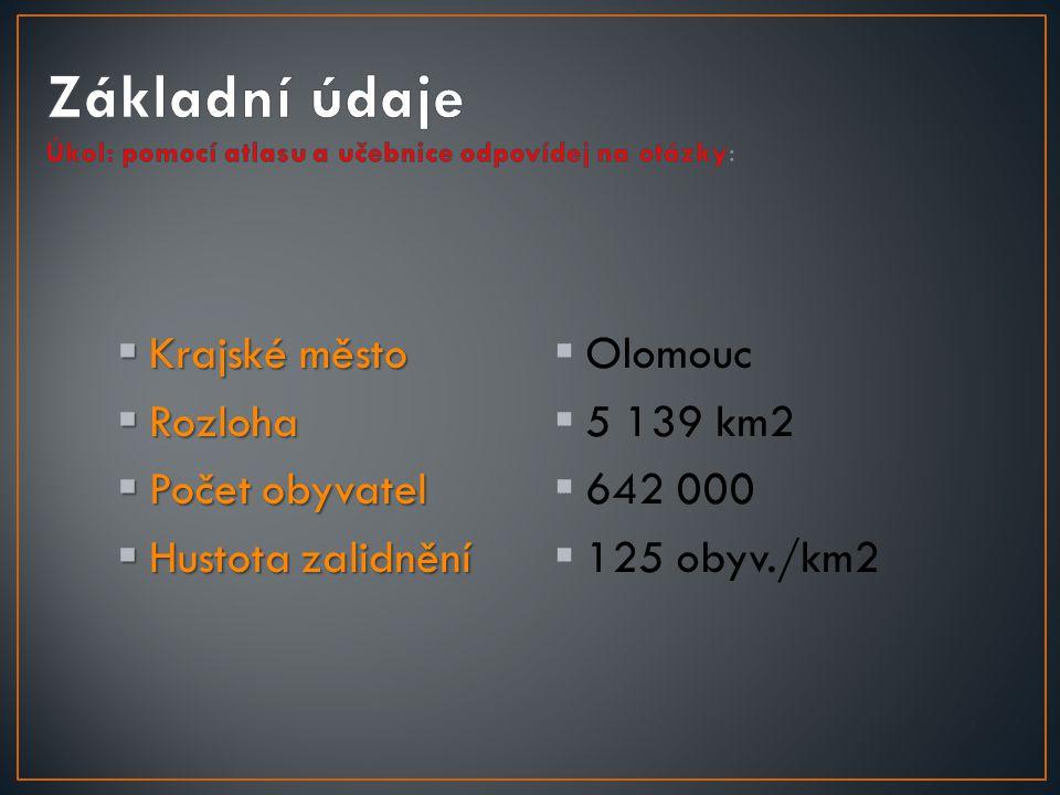  Krajské město  Rozloha  Počet obyvatel  Hustota zalidnění  Olomouc  5 139 km2  642 000  125 obyv./km2