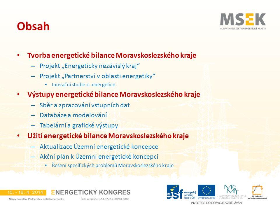 """Obsah Tvorba energetické bilance Moravskoslezského kraje – Projekt """"Energeticky nezávislý kraj"""" – Projekt """"Partnerství v oblasti energetiky"""" Inovační"""