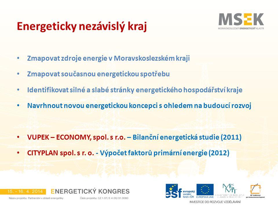 Zmapovat zdroje energie v Moravskoslezském kraji Zmapovat současnou energetickou spotřebu Identifikovat silné a slabé stránky energetického hospodářst