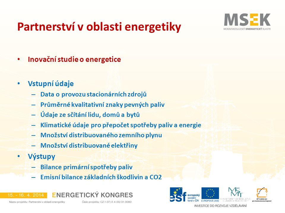 Partnerství v oblasti energetiky Inovační studie o energetice Vstupní údaje – Data o provozu stacionárních zdrojů – Průměrné kvalitativní znaky pevnýc