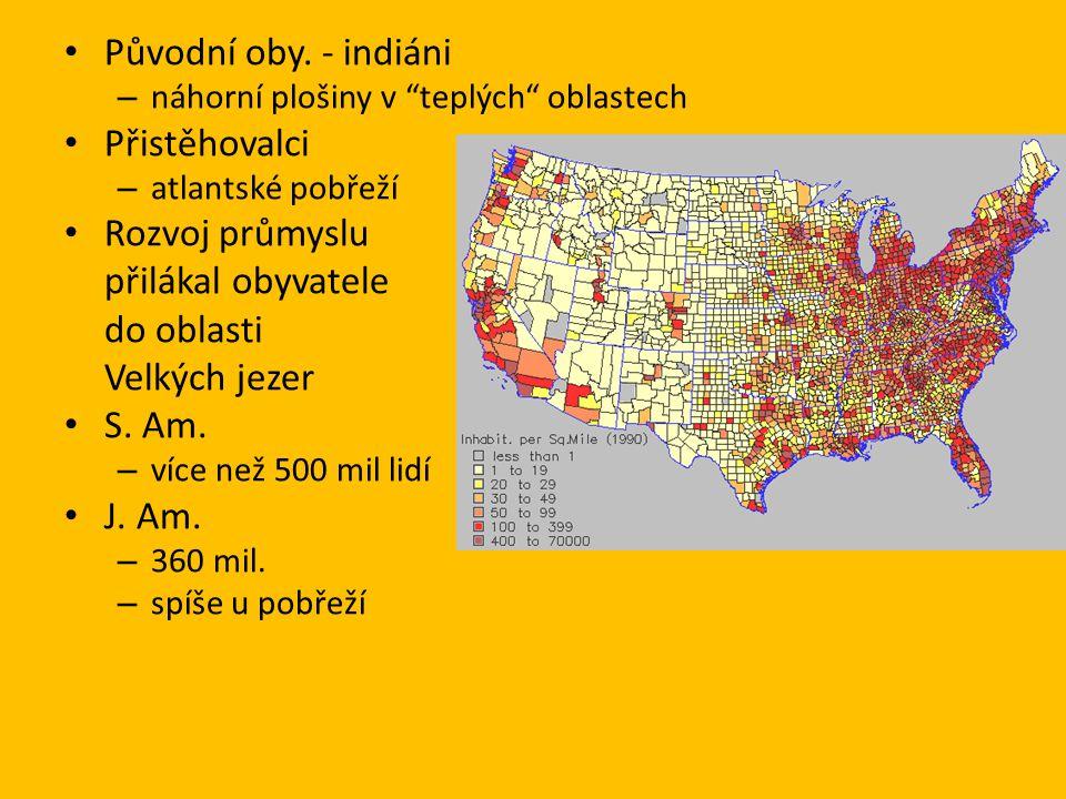 """Původní oby. - indiáni – náhorní plošiny v """"teplých"""" oblastech Přistěhovalci – atlantské pobřeží Rozvoj průmyslu přilákal obyvatele do oblasti Velkých"""