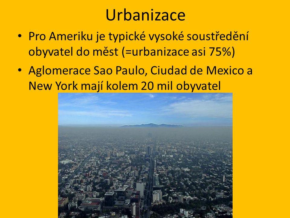 Urbanizace Pro Ameriku je typické vysoké soustředění obyvatel do měst (=urbanizace asi 75%) Aglomerace Sao Paulo, Ciudad de Mexico a New York mají kolem 20 mil obyvatel