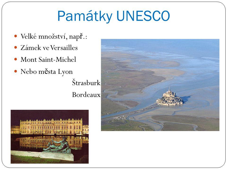 Památky UNESCO Velké množství, nap ř.: Zámek ve Versailles Mont Saint-Michel Nebo m ě sta Lyon Štrasburk Bordeaux