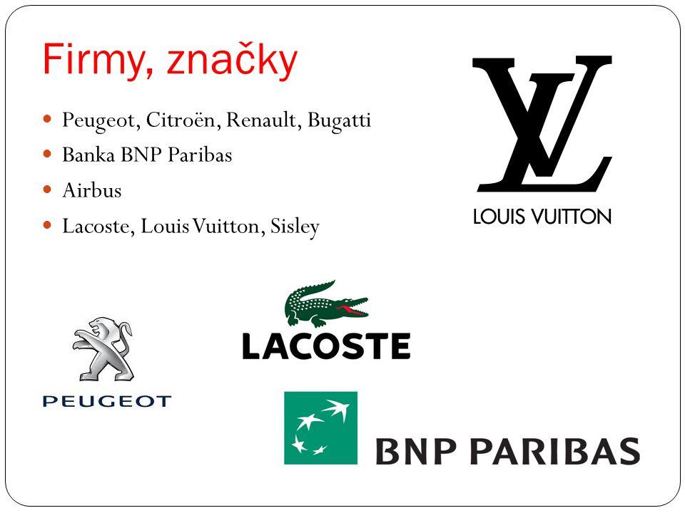 Firmy, značky Peugeot, Citroën, Renault, Bugatti Banka BNP Paribas Airbus Lacoste, Louis Vuitton, Sisley