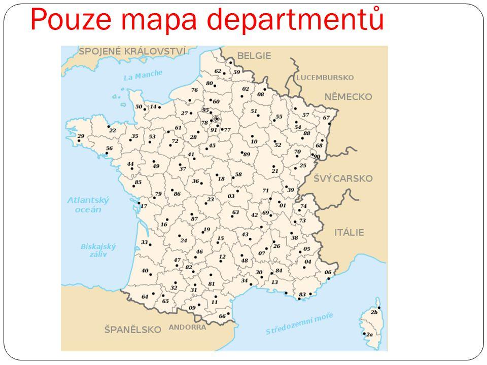 Pouze mapa departmentů