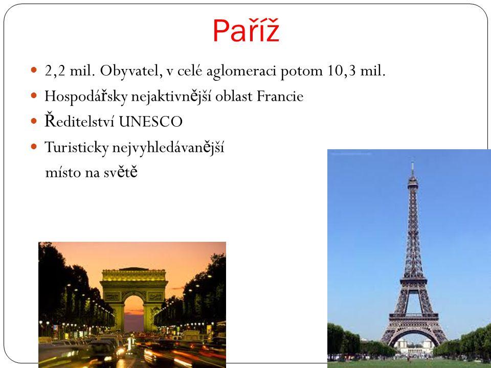 Paříž 2,2 mil.Obyvatel, v celé aglomeraci potom 10,3 mil.