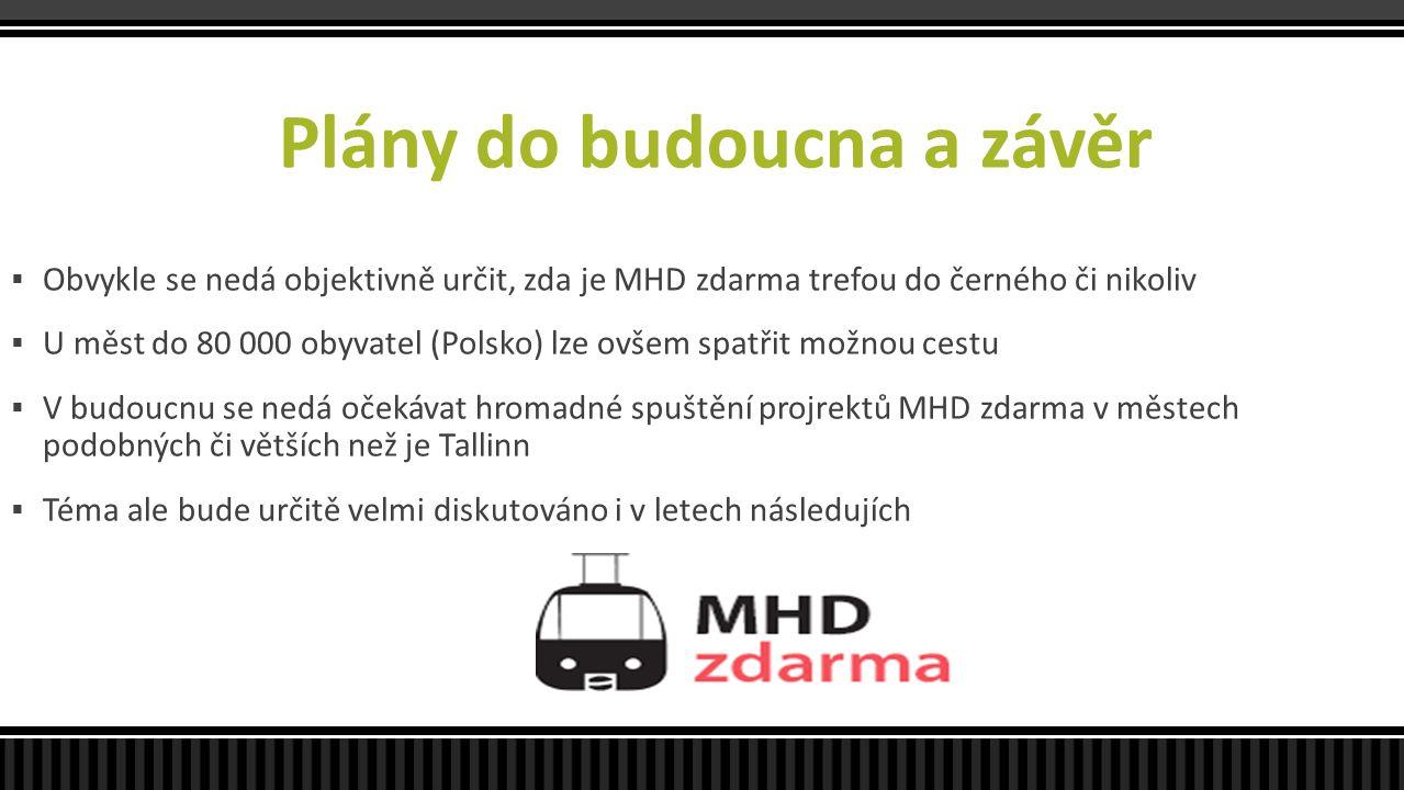 Plány do budoucna a závěr  Obvykle se nedá objektivně určit, zda je MHD zdarma trefou do černého či nikoliv  U měst do 80 000 obyvatel (Polsko) lze
