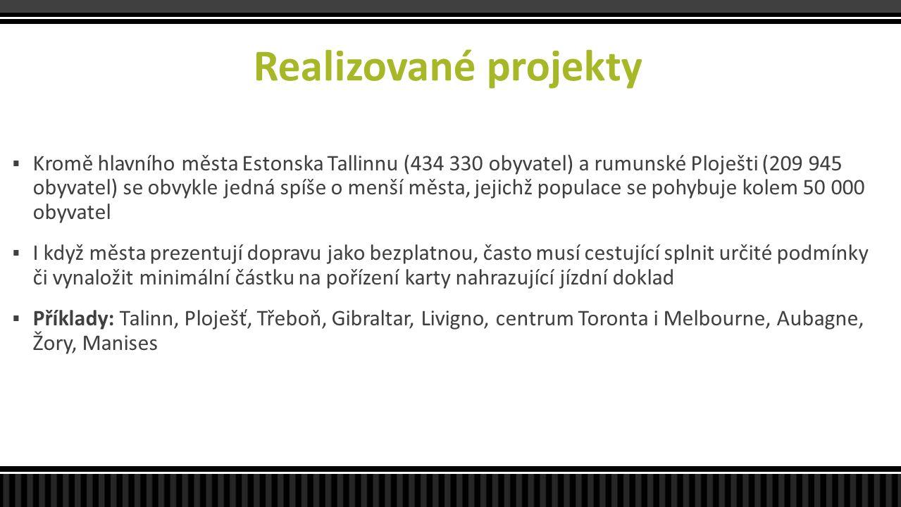 Realizované projekty  Kromě hlavního města Estonska Tallinnu (434 330 obyvatel) a rumunské Ploješti (209 945 obyvatel) se obvykle jedná spíše o menší