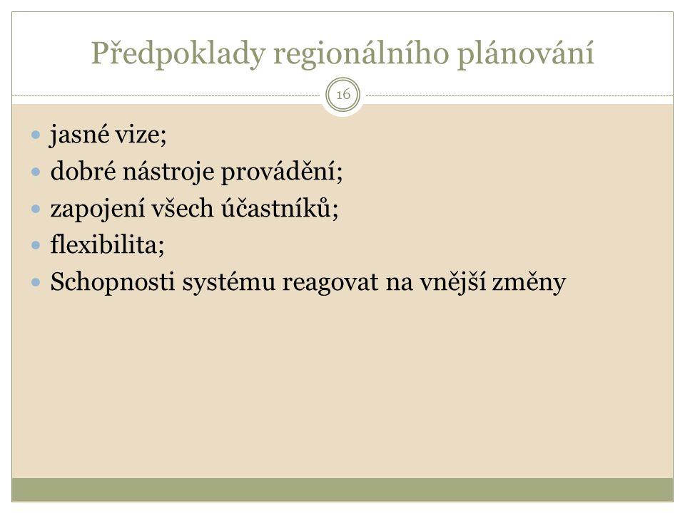 Předpoklady regionálního plánování jasné vize; dobré nástroje provádění; zapojení všech účastníků; flexibilita; Schopnosti systému reagovat na vnější změny 16