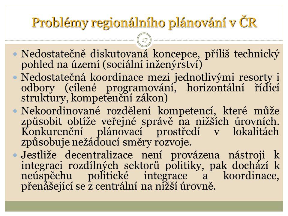 17 Problémy regionálního plánování v ČR Nedostatečně diskutovaná koncepce, příliš technický pohled na území (sociální inženýrství) Nedostatečná koordinace mezi jednotlivými resorty i odbory (cílené programování, horizontální řídící struktury, kompetenční zákon) Nekoordinované rozdělení kompetencí, které může způsobit obtíže veřejné správě na nižších úrovních.