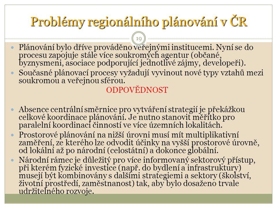 Problémy regionálního plánování v ČR Plánování bylo dříve prováděno veřejnými institucemi.