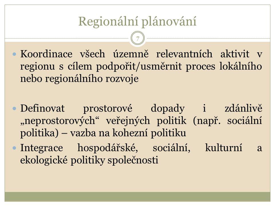 """Regionální plánování Koordinace všech územně relevantních aktivit v regionu s cílem podpořit/usměrnit proces lokálního nebo regionálního rozvoje Definovat prostorové dopady i zdánlivě """"neprostorových veřejných politik (např."""