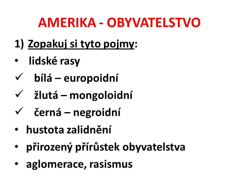 AMERIKA - OBYVATELSTVO 1)Zopakuj si tyto pojmy: lidské rasy bílá – europoidní žlutá – mongoloidní černá – negroidní hustota zalidnění přirozený přírůs