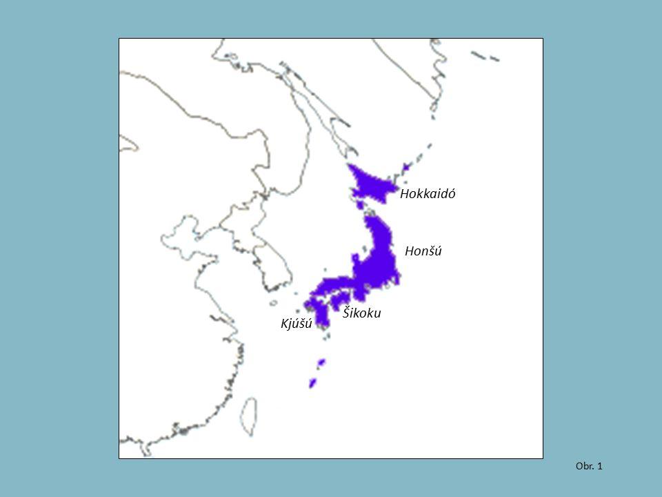 Obr. 1 Hokkaidó Honšú Šikoku Kjúšú