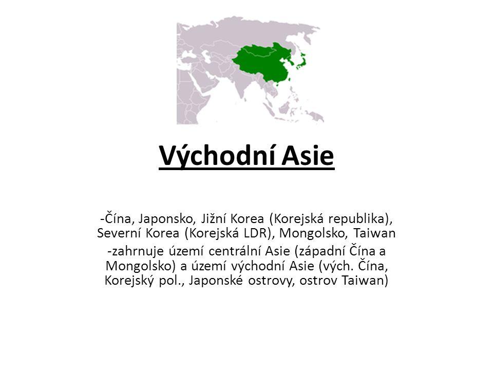 Povrch -centrální Asie: v Mongolsku náhorní plošin, poušť Gobi, v záp.Číně bezodtoké pánve (Tarimská-s pouští Takla Makan) a Džungarská p., Tibetská náhorní plošina, Ťan-šan, Transhimálaj, Himaláje-Mount Everest- na hranicích Číny a Nepálu (velehorská pásma) -nejníže položené místo: Turfanská proláklina -Východní Asie: vyplněné vysočinami střední Číny, 2 nížiny: Mandžuská a Velká čínská nížina; Korejský pol.-hornatý, omýván Japonským a Žlutým mořem -západní část centrální a vých.