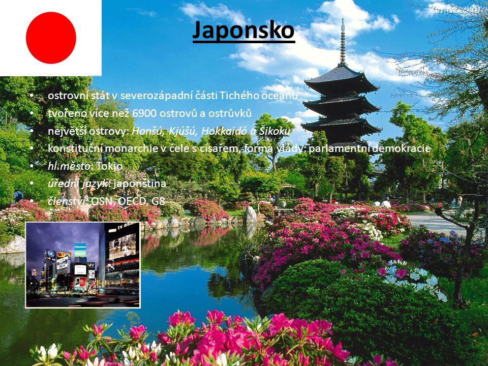 Japonsko ostrovní stát v severozápadní části Tichého oceánu tvořeno více než 6900 ostrovů a ostrůvků největší ostrovy: Honšú, Kjúšú, Hokkaidó a Šikoku