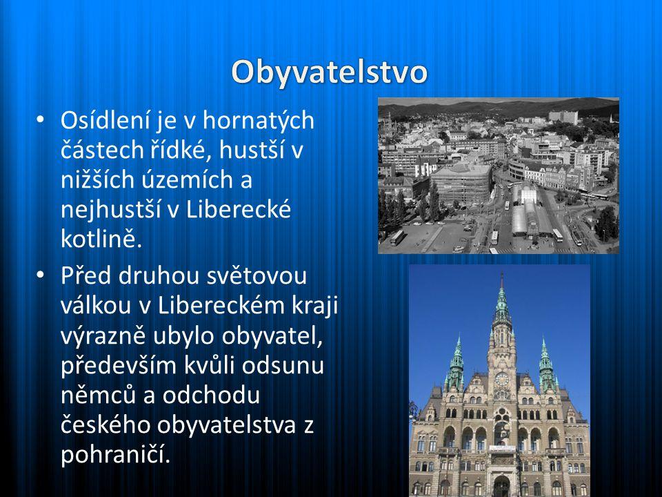 Osídlení je v hornatých částech řídké, hustší v nižších územích a nejhustší v Liberecké kotlině. Před druhou světovou válkou v Libereckém kraji výrazn