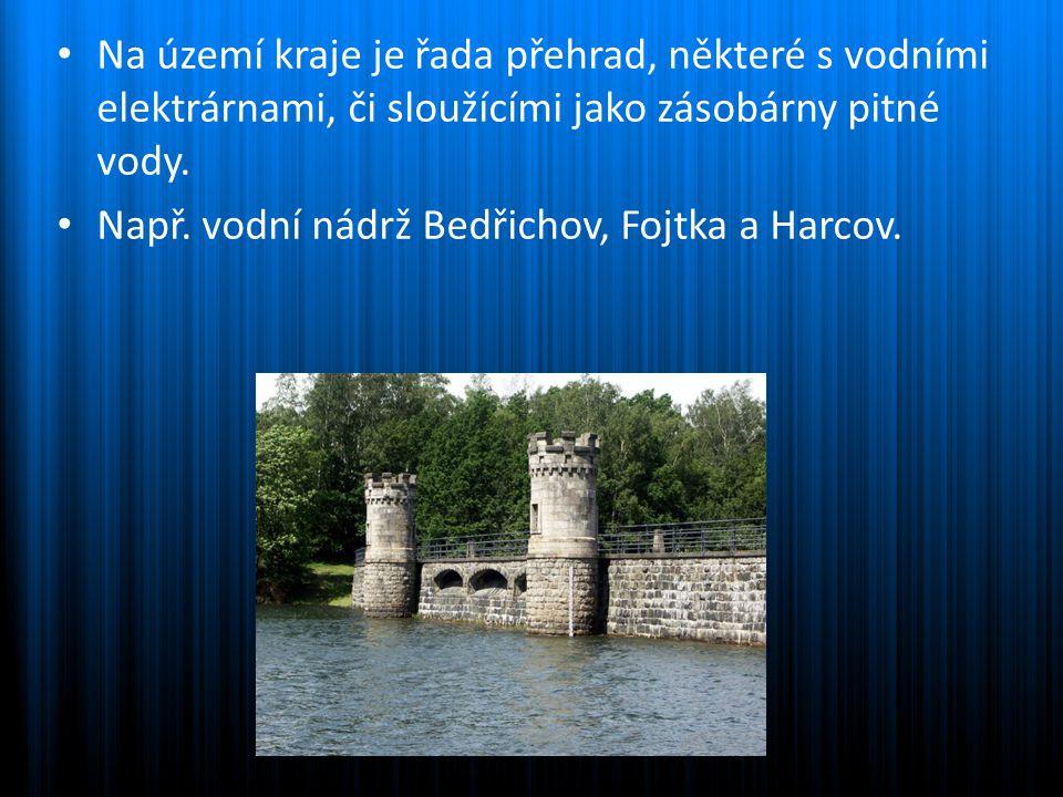 Na území kraje je řada přehrad, některé s vodními elektrárnami, či sloužícími jako zásobárny pitné vody. Např. vodní nádrž Bedřichov, Fojtka a Harcov.