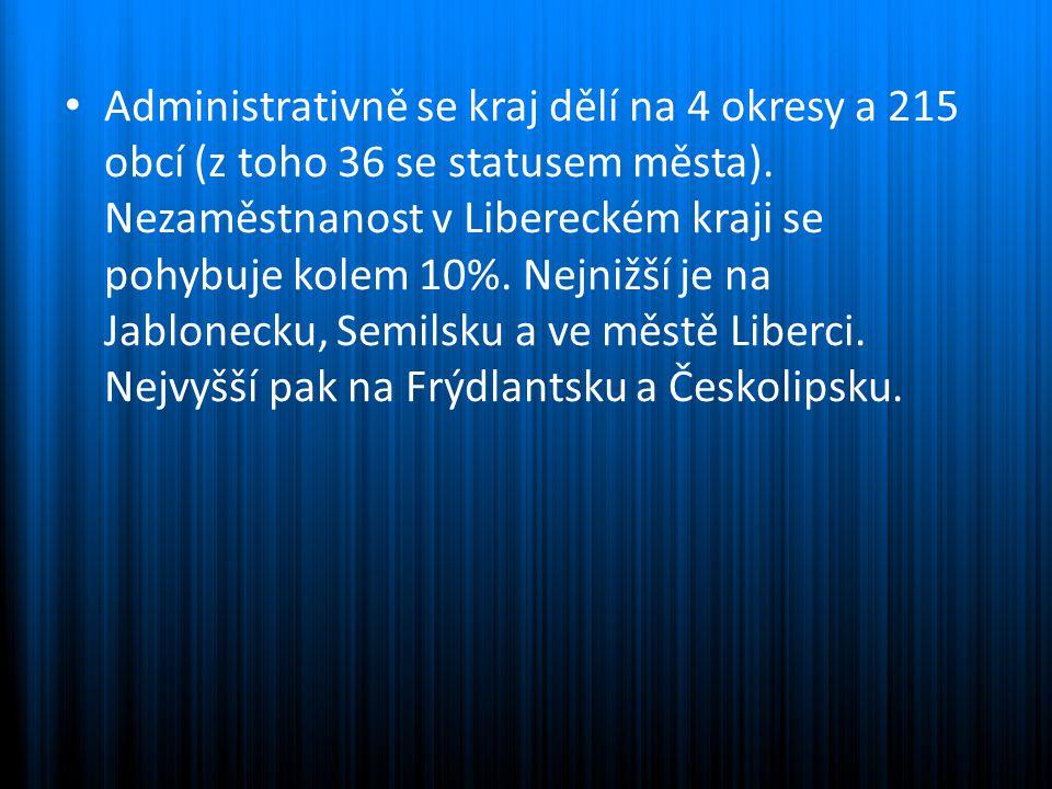 Administrativně se kraj dělí na 4 okresy a 215 obcí (z toho 36 se statusem města). Nezaměstnanost v Libereckém kraji se pohybuje kolem 10%. Nejnižší j