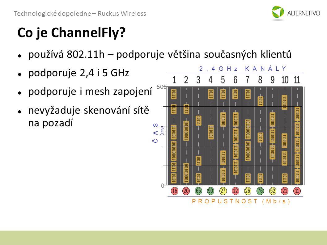 Technologické dopoledne – Ruckus Wireless Co je ChannelFly? používá 802.11h – podporuje většina současných klientů podporuje 2,4 i 5 GHz podporuje i m
