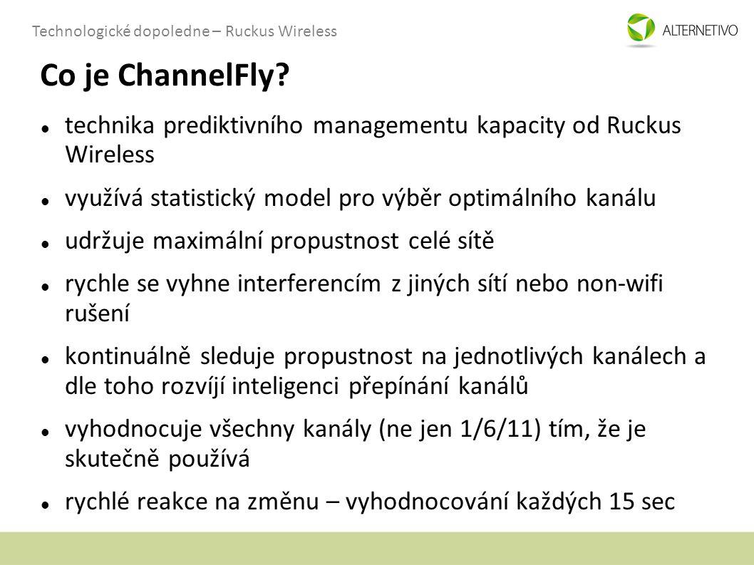 Technologické dopoledne – Ruckus Wireless Co je ChannelFly? technika prediktivního managementu kapacity od Ruckus Wireless využívá statistický model p