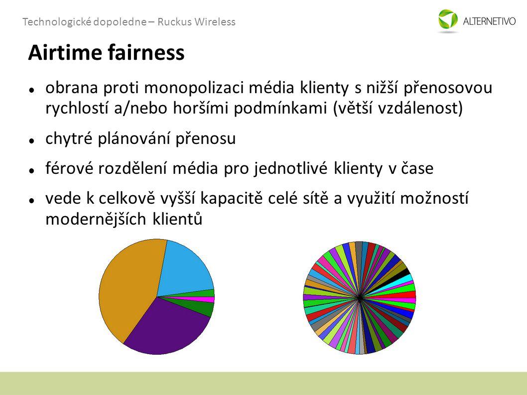 Technologické dopoledne – Ruckus Wireless Airtime fairness obrana proti monopolizaci média klienty s nižší přenosovou rychlostí a/nebo horšími podmínk